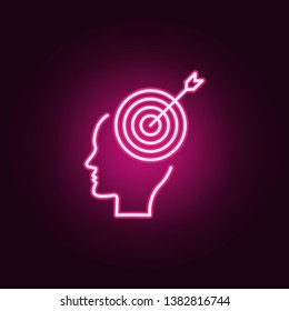 Brain, goal, target neon icon. Elements of Creative thinking set. Simple icon for websites, web design, mobile app, info graphics