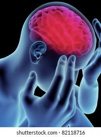 Brain head ache, migraine, Alzheimer's or dementia  concept,Part of a medical series