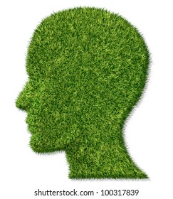 Brain health and memory function fighting dementia and alzheimer's disease as a medical icon of a patch of green grass turf in the shape of a human head and brain as an idea of growing  intelligence.