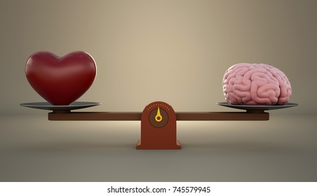 Brain and heart on a wooden balance scale. 3D Render.