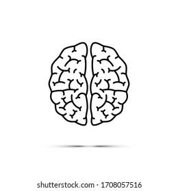 Brain icon. Black line brain symbol isolated on white background. Raster copy