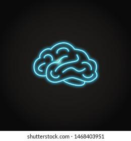Brain icon in neon line style. Internal organ symbol.