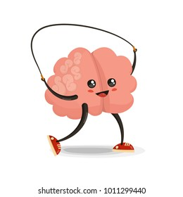 Brain jumping rope cartoon character. Healthy and fitness. Flat illustration isolated on white