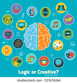 Brain left logic and right creative hemispheres concept with science icons set  illustration