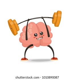 Brain lifting  barbell  cartoon character. Healthy and fitness. Flat illustration isolated on white