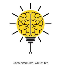 Brain Light Bulb Concept Of Innovation And Imagination
