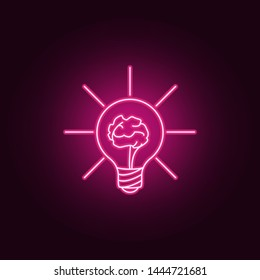 brain in a light bulb neon icon. Elements of Idea set. Simple icon for websites, web design, mobile app, info graphics