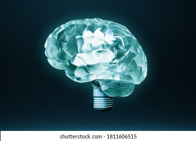 Brain as lightbulb conceptual 3D rendering illustration. Cognition, imagination, learning, neurology, ideas concepts.