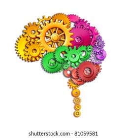 Brain lobe sections in multi color divisions of mental neurological lobes represented by gears and cogs showing the medical concept of neurological function of the human mind isolated on white.
