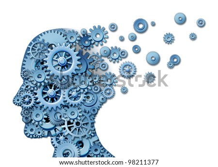 Brain loss and losing memory and intelligence due to neurological trauma and head injury or alzheimer disease caused by aging with gears and cogs in the shape of a human thinking mind.