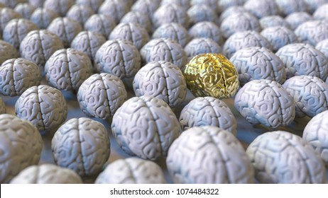Brain made of gold among the usual ones. Genius, mastermind, talent or education conceptual 3D rendering
