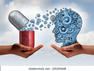 Brain medicine mental health care concept as hands holding an open pill capsule releasing gears to a head of cogs as a symbol for pharmaceutical science and the treatment of psychological illness.