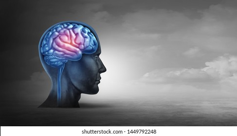 Brain memory and psychology concept as a neurology symbol for alzheimer disease and parkinsons or psychological and psychiatric depression or migraine headache icon with 3D illustration elements.