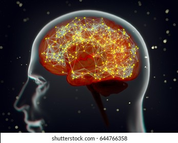 Brain neuron connections or network, concept art. 3d illustration.