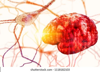 Brain neuron research concept Synapse and Neuron cells sending electrical chemical signals, brain plasticity, Synapse between two neurons neural synapse receptors neuron link neural network 3D render