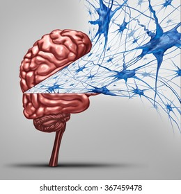 Brain neurons concept and human intelligence medical symbol represented by an open thinking organ with active neuron group with inside cell activity showing memory and cognitive health.
