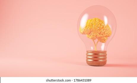 Cerebro sobre el concepto de bombilla de luz fondo rosa 3d representación