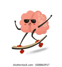 Brain on skateboard cartoon character. Healthy and fitness. Flat illustration isolated on white