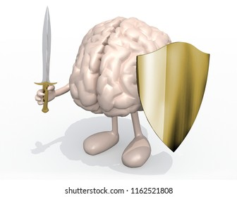 Brain organ with sword and shield, 3d illustration