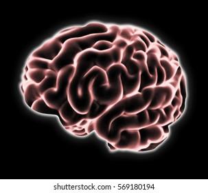 brain photomanipulation on a black background