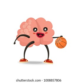 Brain playing basketball, cartoon character. Healthy and fitness. Flat illustration isolated on white