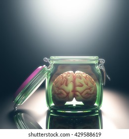 Brain in the pot with the lid open. Open and free mind concept. Your text on the light. Clipping path included.
