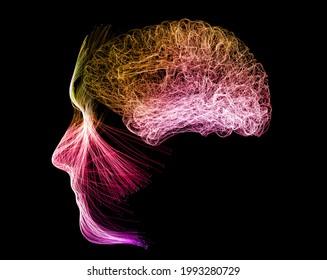 Hirnpotential. Ideen und Innovation. Befreien Sie Ihren Geist! Synapsen und künstliche Intelligenz. Wolke und Globalisierung. 3D-Rendering. Anatomie und Gehirn des Menschen, Seitenansicht. Neuronen. Gedanken und Ideen