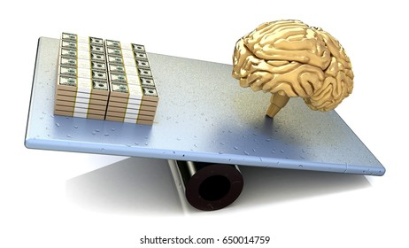 Brain price. intelligence outweighs the money in the design of information related to the intellectual and financial strength. 3d illustration