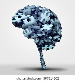 Brain puzzle concept and neurological or psychological health symbol icon as a a group of 3D illustration jigsaw pieces shaped as a thinking organ as a mental memory issue or learning disorder.