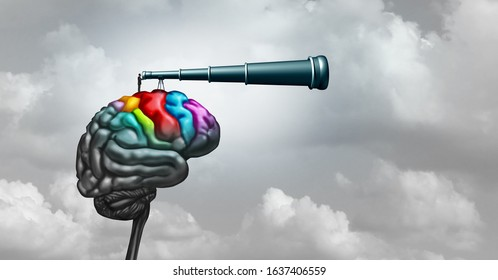 Brain research neuroscience concept and creativity idea as a symbol for mental health psychology or psychiatry and creative business thinking and innovation with 3D illustration elements.