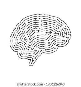 Brain shaped complicated maze, black silhouette on white