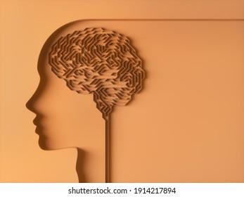 Brain shaped maze. Concept image. 3D illustration.