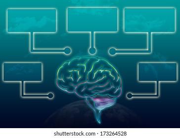 Brain with speech bubbles/Creative info-graphic design/Illustration design