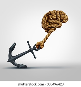 Brain strength concept as a group of ropes shaped as human thinking organ pulling a heavy anchor as a symbol for cognitive function and exercises to strengthen a mind through education and learning.