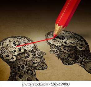Brain telepathy and mind reading psychology or mental connection concept as telepathic people symbols connected with a drawing as a 3D illustration