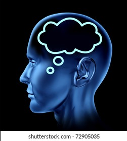 Brain thought with word bubble symbol represented by a human head looking forward.