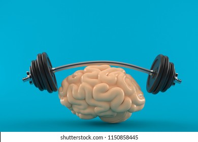 Brain training concept isolated on blue background. 3d illustration
