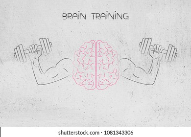 brain training conceptual illustration: brain symbol with muscled arms holding dumbbells