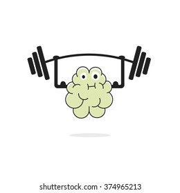 Brain training illustration, brain power, brain learning, education, hard working, thinking exercise, cartoon face, physical sport, hands muscles simple flat outline design isolated on white image