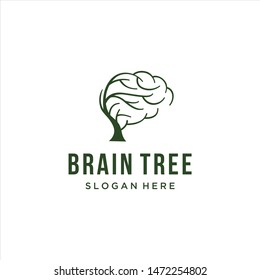 brain tree logo for education, simple icon of brain and tree