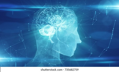 Brain used for thinking artificial intelligence neural network 3D rendering