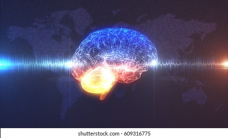 Brain wave - CGI 3D render of artificial intelligence in front of map of the Earth rendered in digits with electrical current or sound wavepassing through it