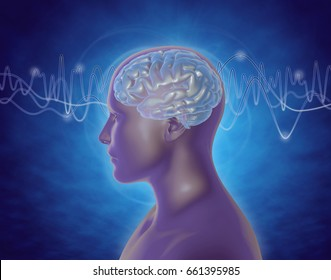 Brain waves abstract illustration with man profile, blue background.