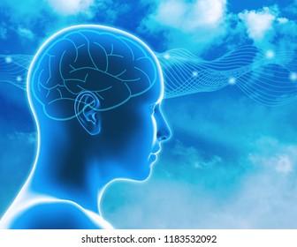 Brain waves, concentration and imagination idea 3d illustration.