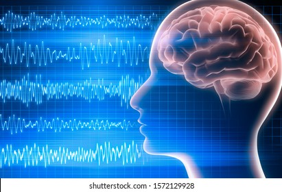 Brain waves - EEG - brain activity - 3D illustration