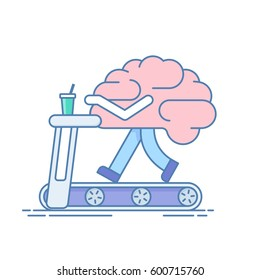 Brain Workout. The concept of activity. Training or sports activities on the treadmill . illustration in a linear style isolated white background.