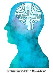 Brain-shaped maze, inside a head in profile, side view