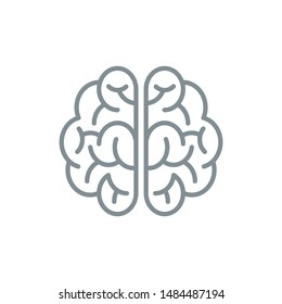 brainstorm idea outline flat icon. Single high quality outline logo symbol for web design or mobile app. Thin line brain think logo. Gray idea icon pictogram isolated on white background
