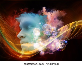 Brainwaves series. Backdrop composed of human face and colorful fractal clouds and suitable for use in the projects on dreams, mind, spirituality, imagination and inner world