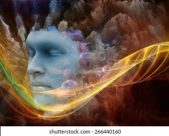 Brainwaves series. Background design of human face and colorful fractal clouds on the subject of dreams, mind, spirituality, imagination and inner world